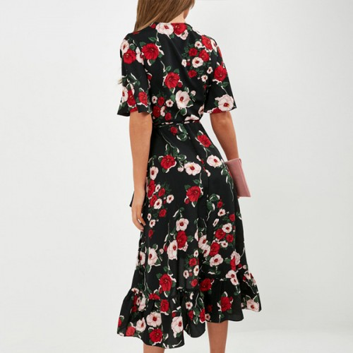 Floral Hem Irregular Half Sleeves Dress - Black