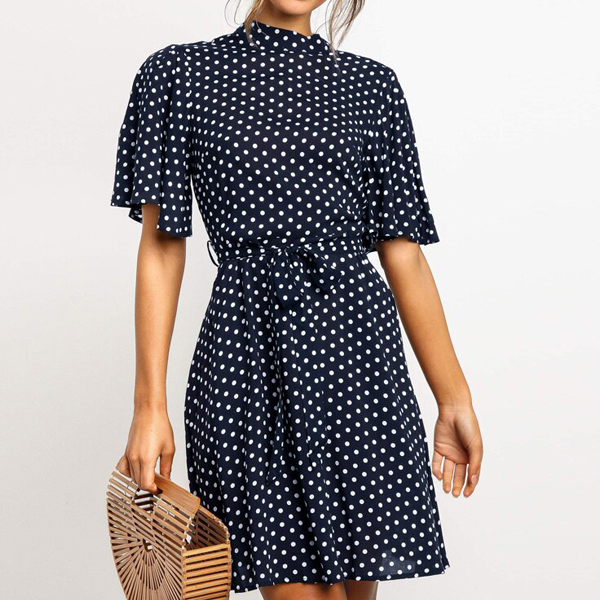 Polka Prints O Neck Summer Mini Dress - Blue