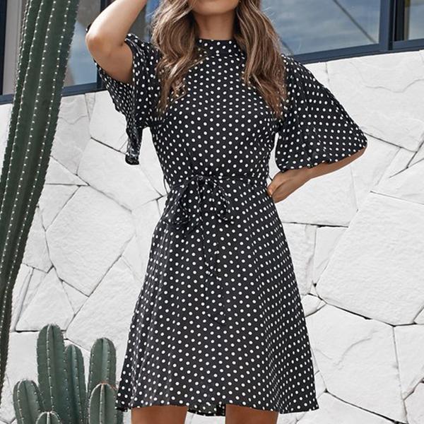 Polka Prints O Neck Summer Mini Dress - Black