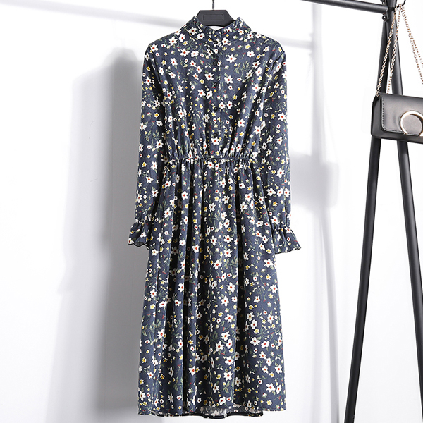 Stand Neck Multiple Prints Floral Midi Dress - Dark Blue