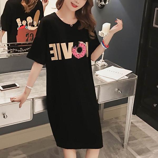 Donut Prints Split Hem Summer T-Shirt Dress