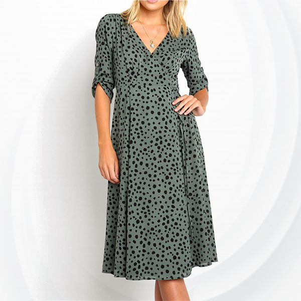Deep Neck Digital Prints Beach Dress - Green