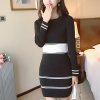 O Neck Printed Stripes Mini Winter Dress - Black