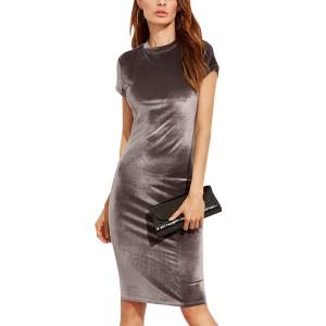 Velvet Thin Sheath Dress Round Neck Ladies Knee Length Dress