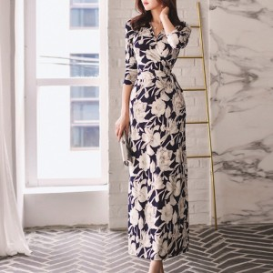 Wrapped Floral V Neck Split Long Dress - White