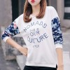 Floral Letters Printed Long Sleeve Casual T-shirts - White