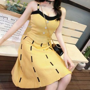 Striped A-Line Retro Summer Wear Mini Dress - Yellow
