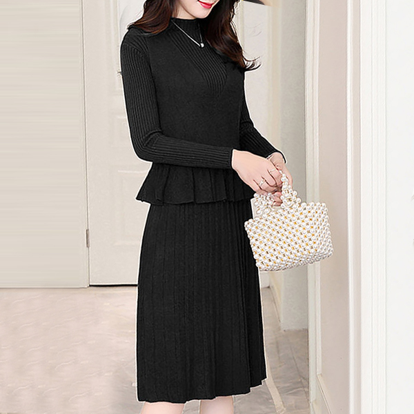 Beautiful Design Long Sleeve Two Piece Dress - Black