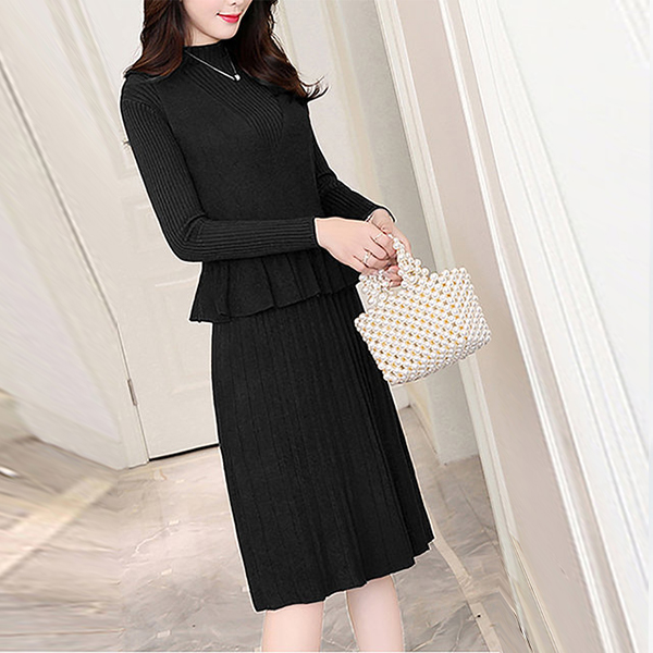 Beautiful Design Long Sleeve Two Piece Dress - Black