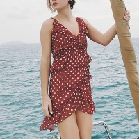 Polka Dot Prints V Neck Beach Dress