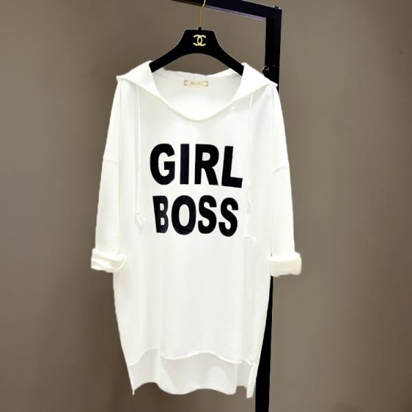 Girl Boss Pattern Long Sleeves Female T-Shirt - White