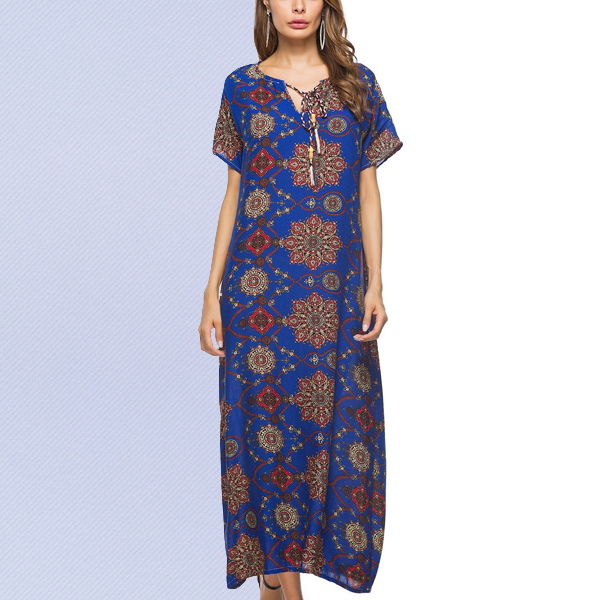 Bohemian Straight Maxi Summer Boho Women Dresses Blue