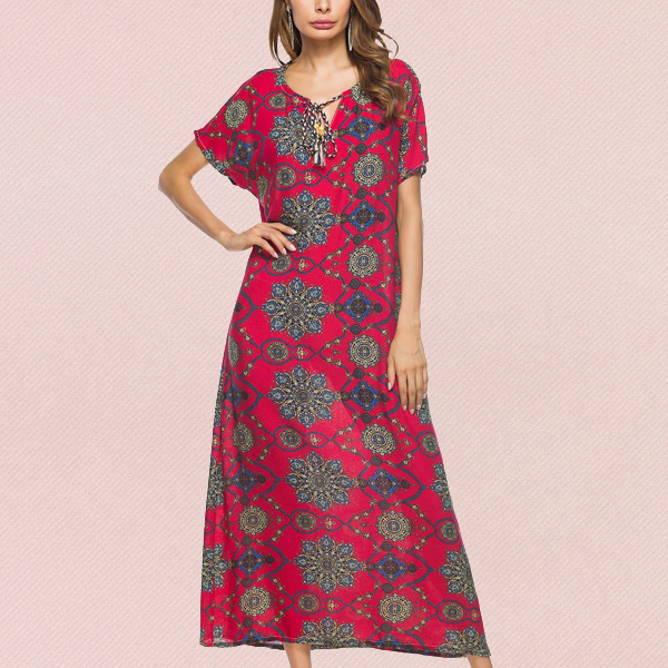 Bohemian Straight Maxi Summer Boho Women Dresses Red