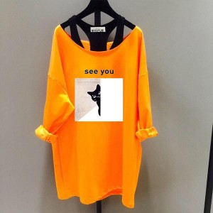 Two-piece Loose Long-sleeved Boat Neck Shirt - Orange