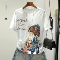 Girl Printed Short Sleeves O Neckline T-Shirt - White