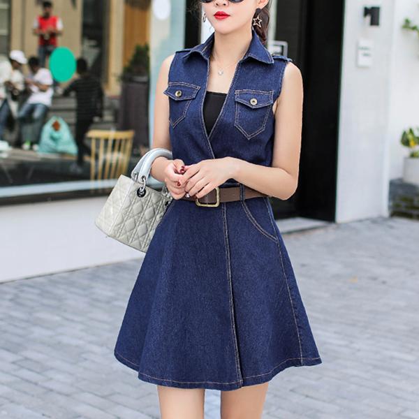Sleeveless Denim Stylish Shirt Collar Mini Dress