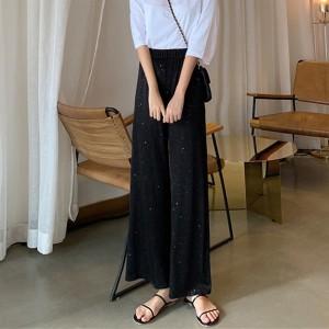 Loose Straight Bell Bottom Casual Wear Trouser - Black