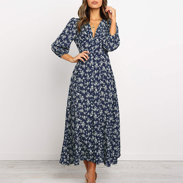 V Neck Long Sleeves Dotted Beach Dress - Blue