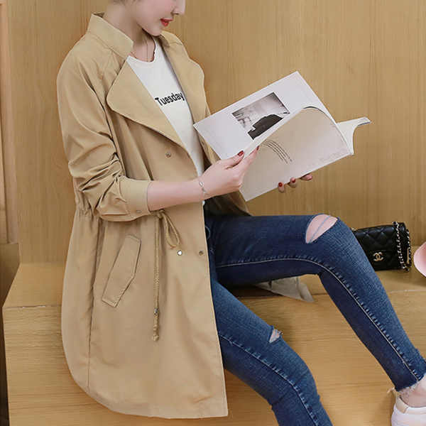Long Summer Button Up Outwear Jacket - Khaki