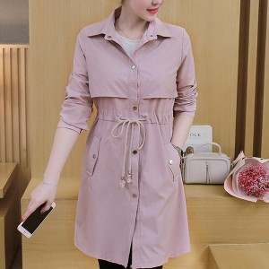 Mid-length Coat Button Closure Solid Trench Jacket - Pink