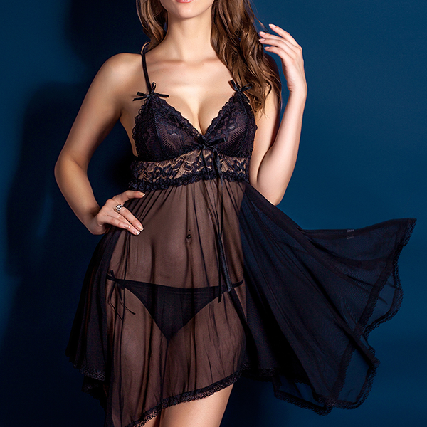 Strappy Irregular Lace Texture Night Lingerie - Black
