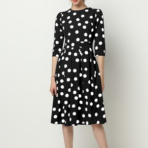 Turtle Neck Polka Prints Casual Midi Dress - Black