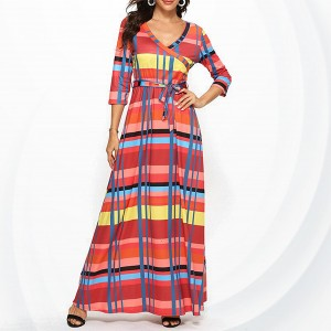 Check Prints V Neck Maxi A-line Dress - Multi Color