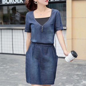 Short Sleeved Fashion Mini Skirt Dress - Blue