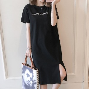 Round Neck Print Mini T-Shirt Dress - Black