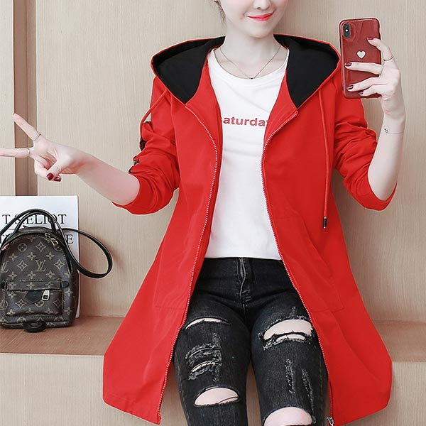 Long Letters Sleeve Polyester Zipper Women Jackets - Red