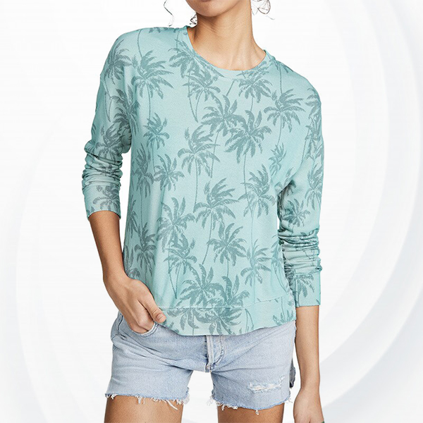 Floral Long Sleeve Casual Round Neck Shirt - Green