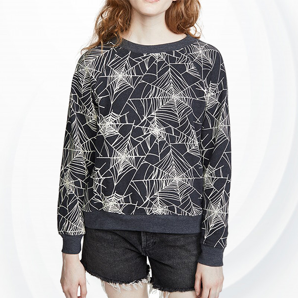 Floral Long Sleeve Casual Round Neck Shirt - Black