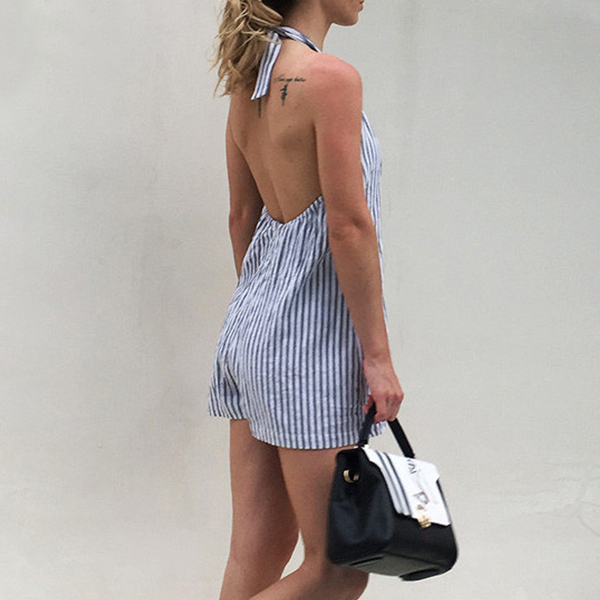 Backless Stripes Printed Mini Romper Dress