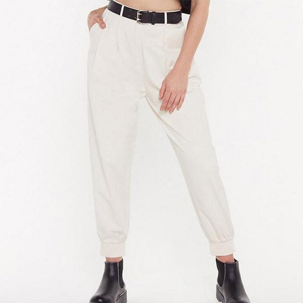 High Waist Solid Pleated Loose Pockets Sweatpants - White