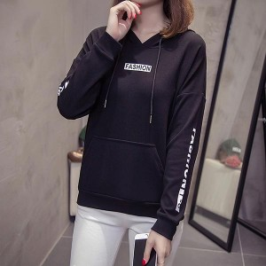 Long Sleeve V-neck Hoodies Women Tops - Black