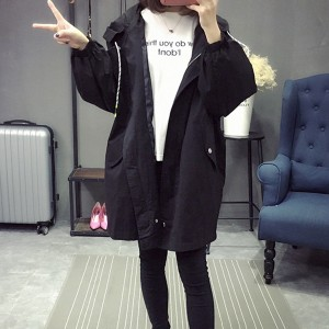 Letter Printed Long Sleeves Hoodie Jackets - Black