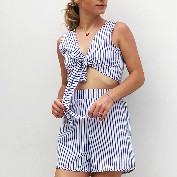 Two Pieces Stripes Knot Top And Bottom
