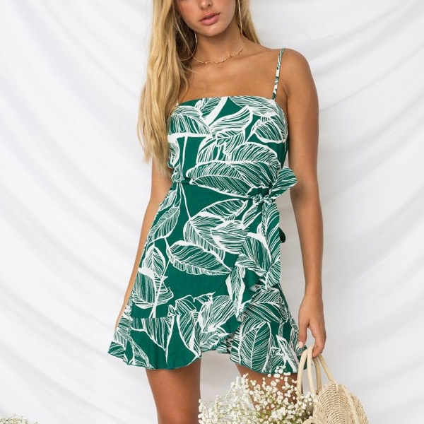 Leaves Printed Knotted Beachwear Dress - Green