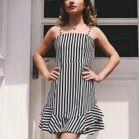 Lining Printed Flounce Mini Dress