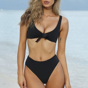 Two Pieces Knotted Black Swimwear Set