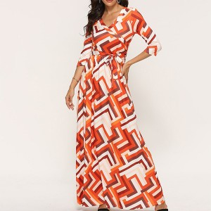 Geometric Prints V Neck Long Dress