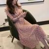 Chiffon Prints Knotted Neck Midi Dress