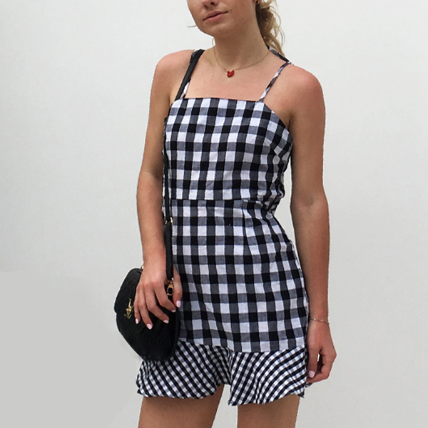 Checks Print Flounced Hem Mini Dress