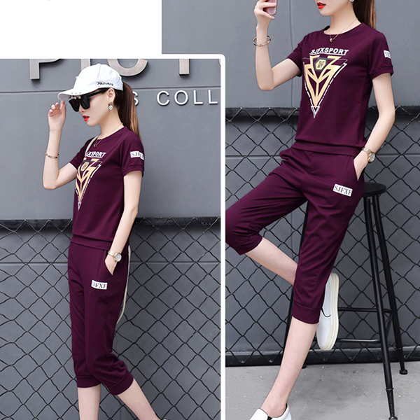 Sports Wear T-Shirt With Casual Trousers - Purple