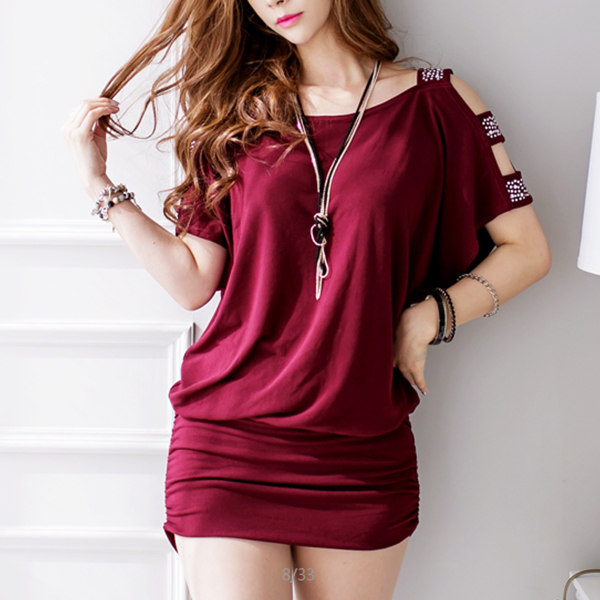 Hollow Sleeves Loose Pleated Blouse Top - Burgundy