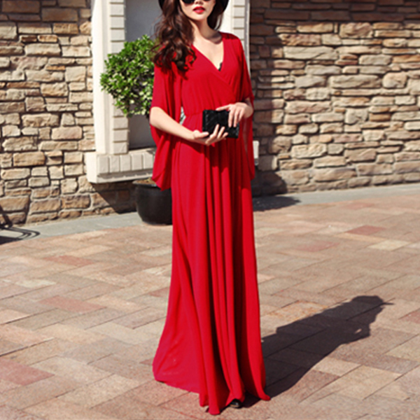 Wrapped V Neck Full Length Party Dress - Red