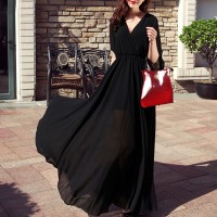 Wrapped V Neck Full Length Party Dress - Black