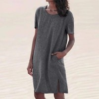 Solid Pattern Round Neckline Quarter Sleeves Dress - Grey