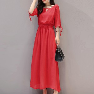 Chiffon Stylish Full Length Solid Dress - Red