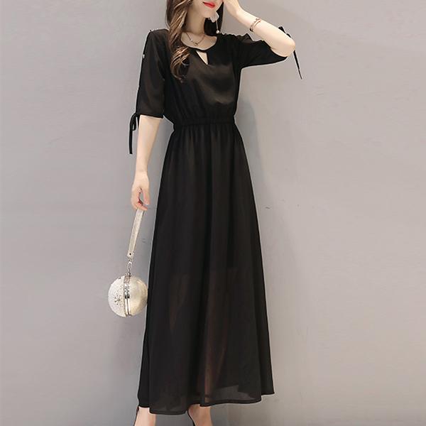 Chiffon Stylish Full Length Solid Dress - Black